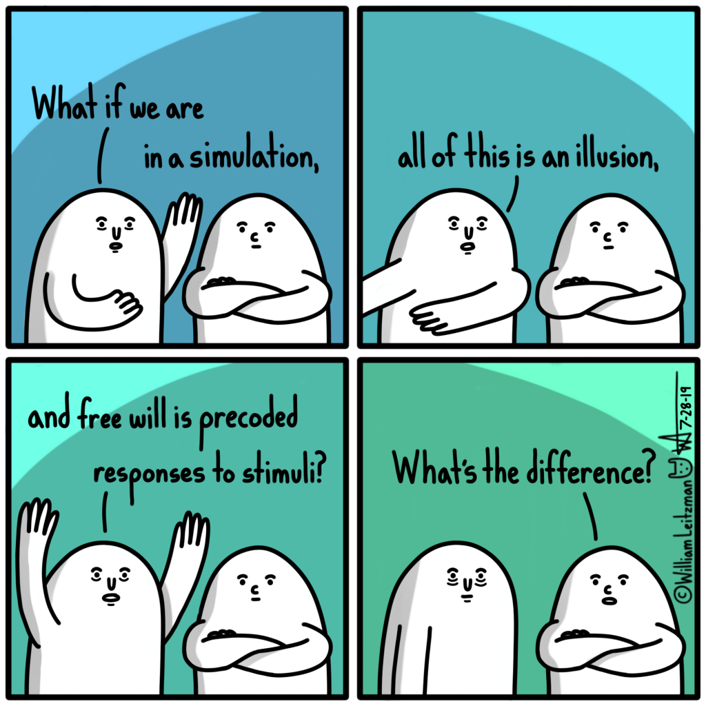 What if we are in a simulation, all of this is an illusion, and free will us precoded responses to stimuli? What's the difference?